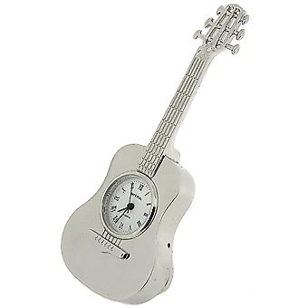 Miniature Silver Tone Metal Free Standing Guitar Novelty Collectors Clock IMP86S