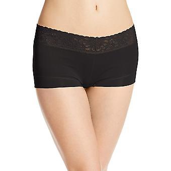 Maidenform Women's Dream Cotton with Lace Boyshort, Black, 8, Black, Size 8.0