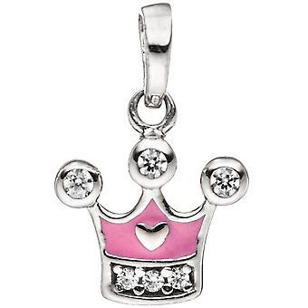 الاطفال قلادة تاج 925 الفضة الاسترليني مع الزركونيا مكعب قلادة الأطفال الوردي