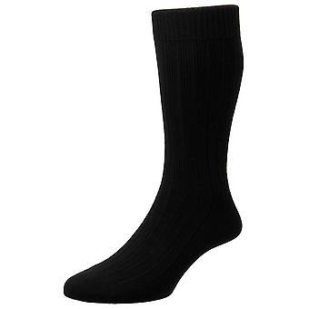 Pantherella Raynor Egyptian Cotton Rib Socks - Black