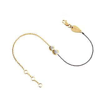 Bracelet Duo half Thread 18K Gold and Diamonds - Yellow Gold, Grey Pearl