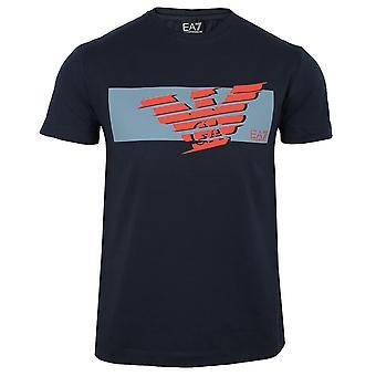 Ea7 emporio armani men's navy logo t-shirt