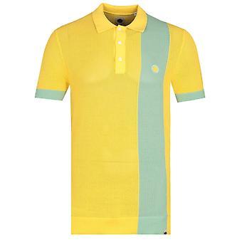 Camisa polo de malha amarela de listras bonitas