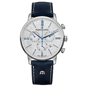 Maurice Lacroix Eliros Chronograph | Blue Leather Strap | Silver Dial EL1098-SS001-114-1 Watch