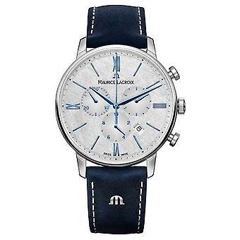 Maurice Lacroix Eliros Chronograph | Blauwe leren band | Zilveren wijzerplaat EL1098-SS001-114-1 Horloge