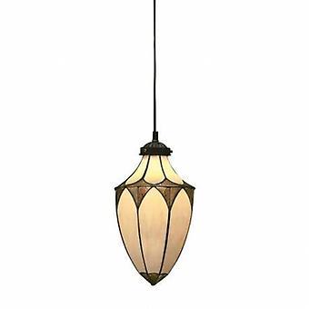 1 ljus litet tak hänge mörk brons, Tiffany glass