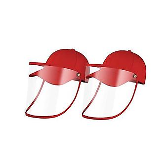 2X Utomhus Hatt Anti Dimma Damm Saliv Cap Face Shield Cover Kids Red