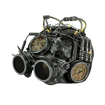 LED Light Up Steampunk Helmet Halloween Costume Mask with Goggles and Gauges