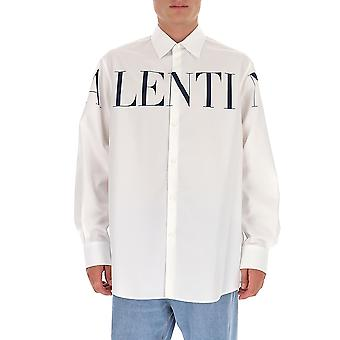 Valentino Uv3abd005apa01 Herren's weißes Baumwollhemd