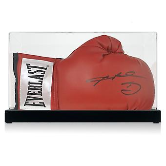 Sugar Ray Leonard Signed Red Boxing Glove. In Display Case