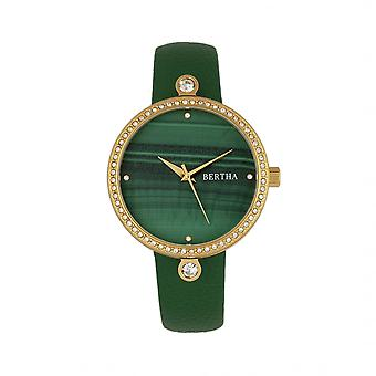 Bertha Frances Marble Dial Leather-Band Watch - Green