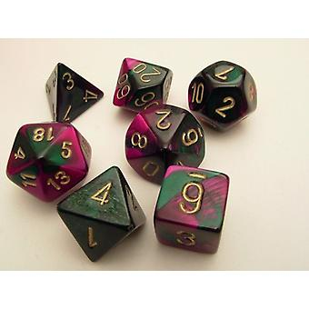 Chessex Gemini Polydice Set - Green-Purple/gd
