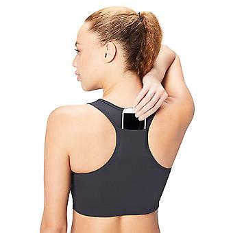 Core 10 Women's Plus Size Longline Pocket Sports Bra, Dark Grey, 1X (14W-16W)