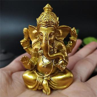 Golden Ganesha Statue - Buddha Elephant God Sculpture, Ganesh Figurines Resin