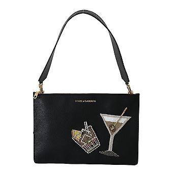 Black cocktail drink leather hand shoulder purse bag