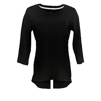 Isaac Mizrahi Live! Women's Top Essentials 3/4 Sleeve Black A300290