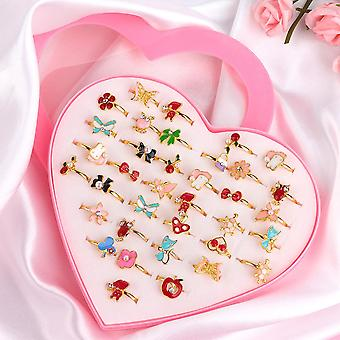 36 Peça/conjunto Cute Love Kids Rings- Sweet Design Flower, Anéis de Dedos Animais