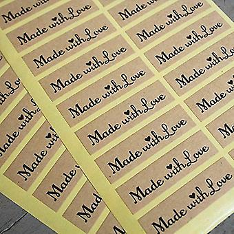 Kraft Stickers 'Made With Love' x 40 Wedding Favours / Craft - Vintage Rustic Labels