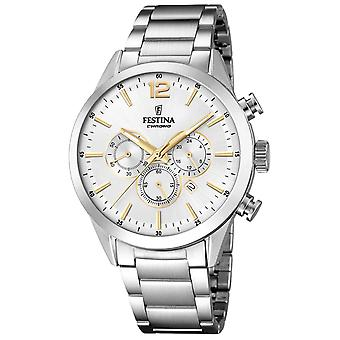 Festina chrono watch for Analog Quartz Men with stainless steel bracelet F16826/D