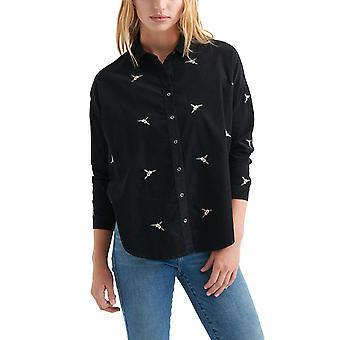 Lucky Brand | Puuvilla vakosametti kukka kirjailtu paita