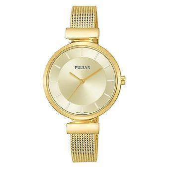 Pulsar Ladies Gold Plated Mesh Bracelet 50M Watch (Model No. PH8412X1)