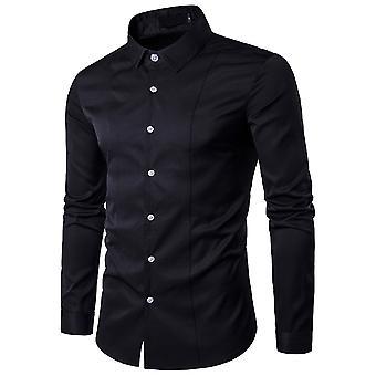YANGFAN Mens Solid Color Formal Business Long Sleeve Shirt