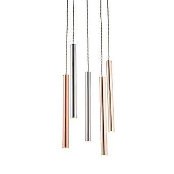 Endon Lighting Mateo - Integrated LED Pendant Chrome Effect & Rose Gold Effect Plate 5 Light Dimmable IP20