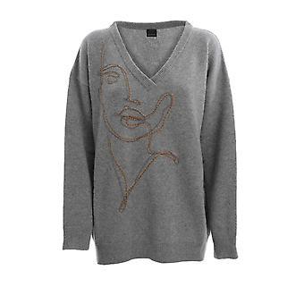 Pinko 1b14xjy6n6i42 Women's Grey Wool Sweater