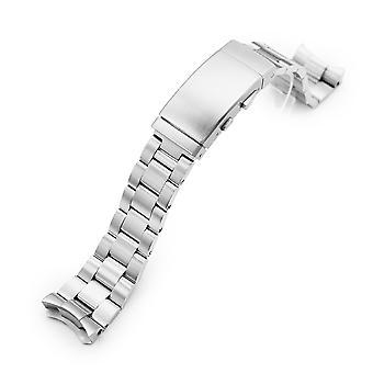 Strapcode watch armbånd 22mm super-o boyer 316l rustfritt stål watch band for seiko 5, børstet våtdrakt ratchet spenne