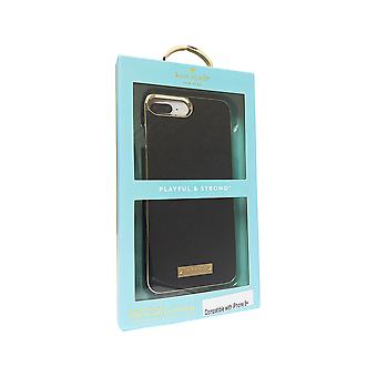 kate spade Saffiano Leather Wrap Case for iPhone 8 Plus, 7 Plus - Saffiano Black/Gold