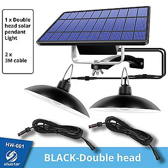 Ip65 Waterproof Double Head Pendant Light Outdoor Indoor Solar Lamp With Cable Suitable For Courtyard Garden