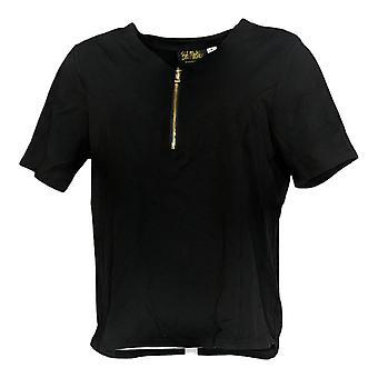 Bob Mackie Women's Top V-Neck Zip Short Sleeve Black A365894