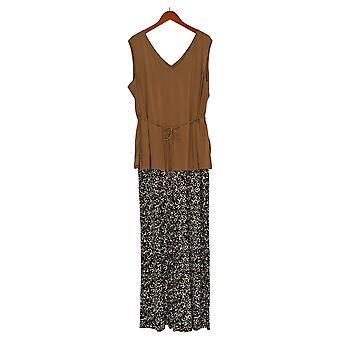 Nina Leonard Plus Jumpsuits Tunic & Palazzo Pant One-Piece Brown 703-533