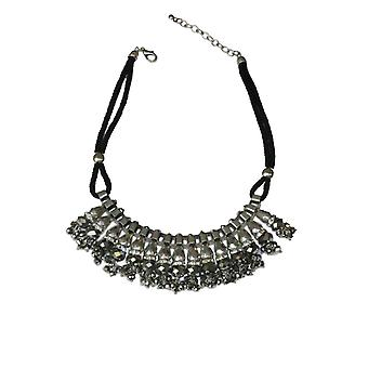 Glass Beaded Tassel Statement Collar Boho Tribal Rope Rhinestone Crystal Necklace For Women/Girls