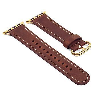 Strapsco dassari distressed leather strap for apple watch w/ yellow gold buckle