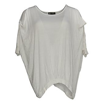DG2 por Diane Gilman Women's Top S White Tunic Cold Shoulders 677-912
