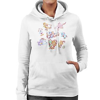 Care Bears Christmas Candy Cane Montage Women's Hooded Sweatshirt