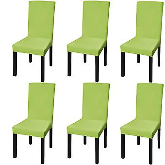 Straight Stretch Chair Cover 6 pcs Green