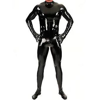 Sexy lesklý kombinéza muži celotělový kryt pu latex vodotěsný u konvexní pouzdro