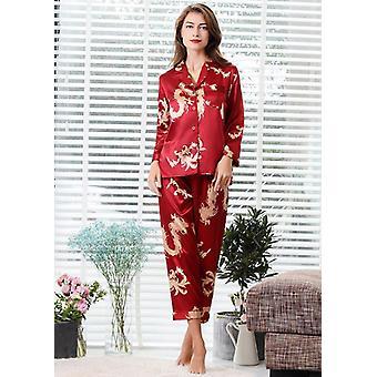 2pc Set Couple Silk Satin Pajamas, Long Sleeve Sleepwear Suit And Man