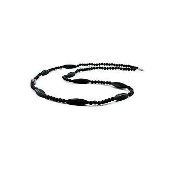 halskjede svart perler 80cm