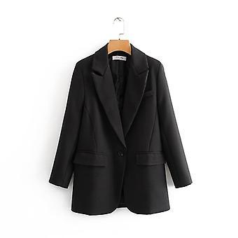 Women Black Suit Blazer Long Sleeve Pocket, Office Lady Business Coat, Female