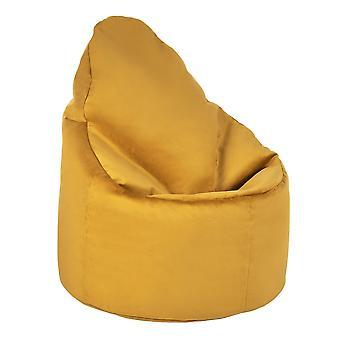 Turmeric Yellow Velvet Highback Bean Bag Chair Set Indoor Gaming Beanbag Lounger Gamer Seat