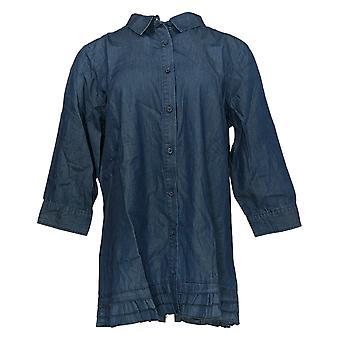 Joan Rivers Classics Collection Kvinder's Top Denim Button Shirt Blå A301805