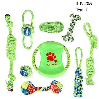 9 pezzi / Set Pet Dog Toys Cotton Ball Cucciolo Masticare denti giocattolo molare Pulire corda verde resistente corda intrecciata Strumento divertente per il traning all'aperto