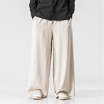Oddychające męskie bawełniane spodnie lniane, luźne dopasowanie, wiosna męska elastyczna talia