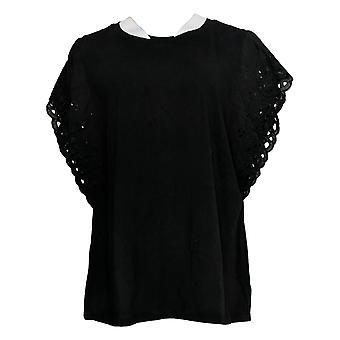 Belle by Kim Gravel Women's Plus Top TripleLuxe Knit Black A351613