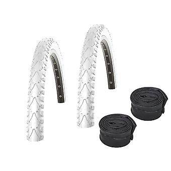 "Velo.Set 2 x Kenda Khan Bicycle Tires = 40-622 (28×1.5"") White + Hoses"