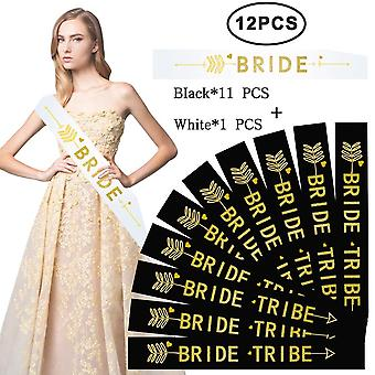 Diy house 12 pack bride tribe sashes set 11 black with 1 white hen party sashes decoration team brid
