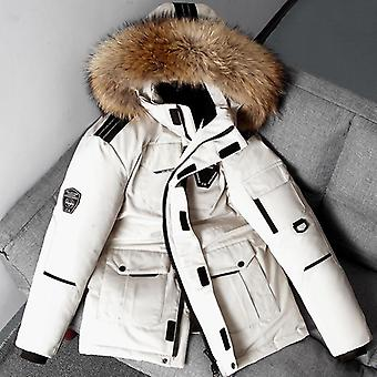 Down Jacket Men White Duck Down Parkas Coat Mid-length Large Fur Collar Down
